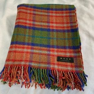 Moon Wool Blend Plaid Throw Camp Fire Blanket